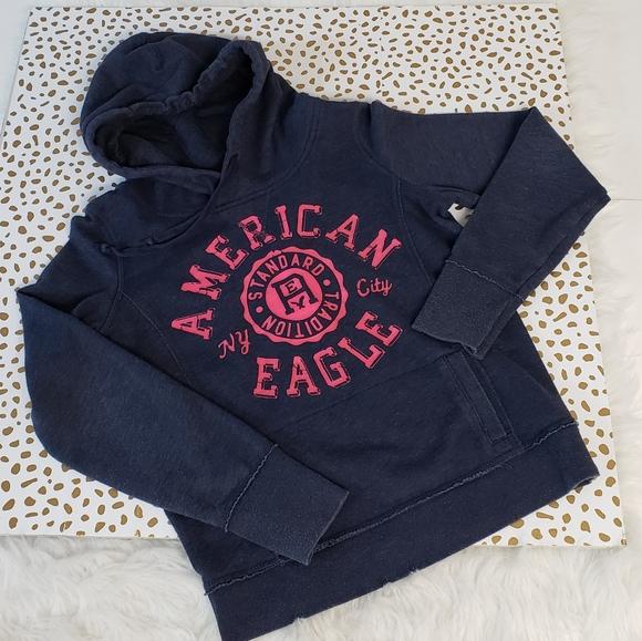 American Eagle blue pink hoodie sweatshirt M